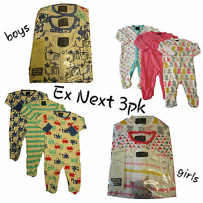 Ex Ne/xt 3 Pack Babygrow Sleepsuit Baby Girls Boys 100% Cotton TinyB - 24/36m