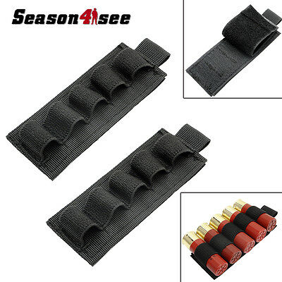 2PCS Tactical Hunting 5 Round Shotgun Shell 12 Gauge Ammo Carrier Holder Pouch