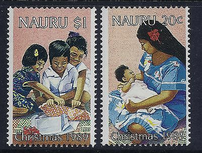 1989 Nauru Christmas Set Of 2 Fine Mint Mnh/muh