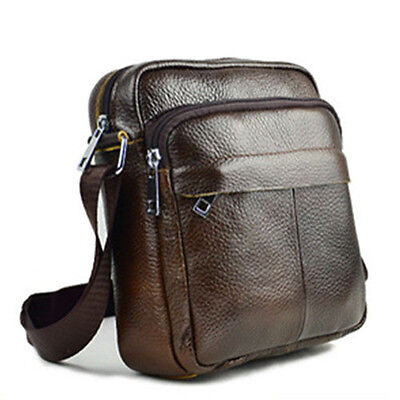Men's Leather Messenger Shoulder Bags Casual Day Bag Small Satchel Fashion