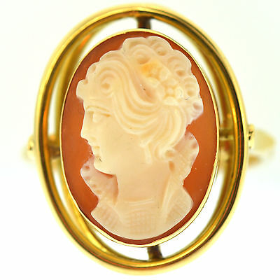 Estate Fine Cameo Ring 18K Yellow Gold Vintage Hand Carved Shell Antique Size 9