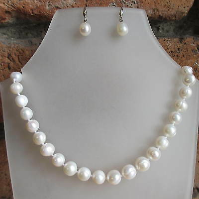 Real Freshwater Cream Pearls 925 Silver Wedding Bridal Necklace Earrings Set 18""