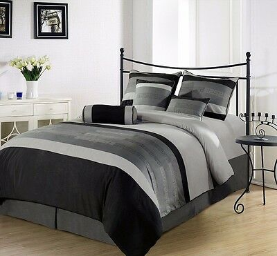 Chezmoi Collection 7-Piece 3-Tone Embroidered Duvet Cover Set Queen, Black/Gray