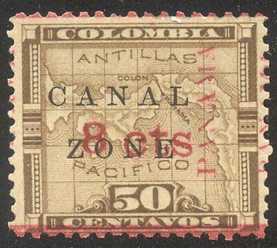 CANAL ZONE #15 SCARCE Mint w/Cert - 1904 8c on 50c Bistre