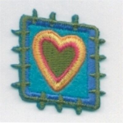 Stitch Patch Work Diamond Abstract Blue Green Heart Embroidery Applique Patch