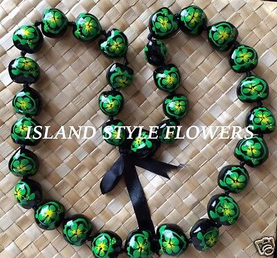 Hawaii Wedding Green Kukui Nut Lei Graduation Luau Hula Necklace Hibiscus Turtle