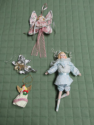 Vintage Christmas Angel Ornaments Lot Of 4