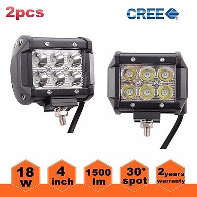"Pair 4"" 18W LED Work Light Bar Beam Spot Off road Driving Fog Lamp SUV ATV 4WD"