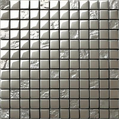 Silver Glass Mosaic Wall Tiles Smooth & Textured Bathroom Shower Kitchen MT0100