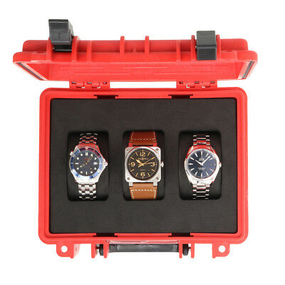 WatchObsession Oyster Three Watch Travel Case in Red - Series 3/0, Waterproof