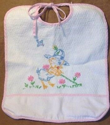 Vintage Early 50's Cloth Hand Embroidered Ducky Pocket BABY BIB w/ Pink Trim