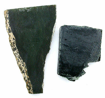 110 Gram Two Natural Nephrite Dark Green Jade Slab Cab Cabochon Slab Rough JS8