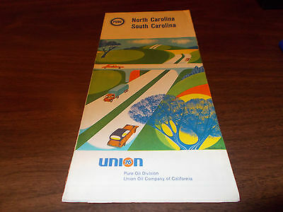 1968 Pure Oil North and South Carolina Vintage Road Map