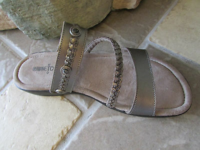 New Minnetonka Moccasin Havasu Pewter Slide Sandals Womens 10 Free Ship
