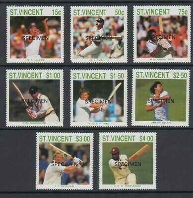 St. Vincent 1988 Cricketers Specimen Set (8) (Id:799/d36935)