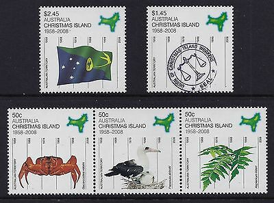 2008 Christmas Island 50 Years Australian Territory Set Of 5 Fine Mint Mnh/muh