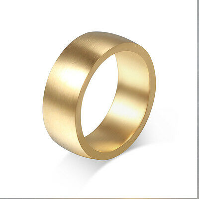 Size 5-13 Gold Plated Brushed 8mm Band Ring Women/Men's Stainless Steel Jewelry