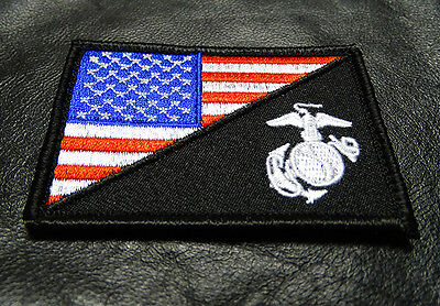 USA FLAG MARINE CORPS USMC  TACTICAL MORALE HOOK PATCH (red/wht) BY MILTACUSA
