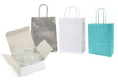 Birthday Party Paper Gift Bag / Loot Bags - Frozen White - Silver - Light Blue