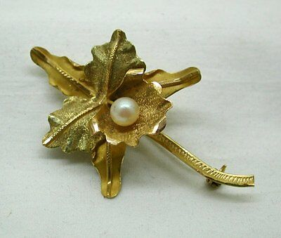 Vintage Lovely 18ct Gold And Cultured Pearl Orchid Flower Brooch