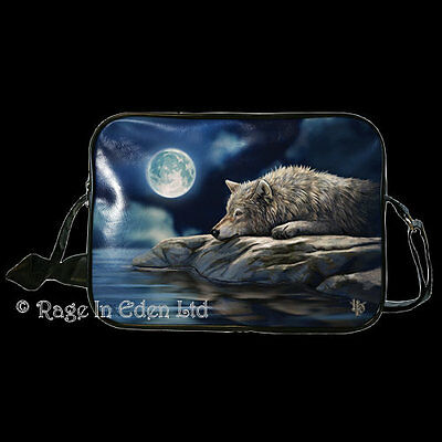 **QUIET REFLECTION** Goth Fantasy Wolf Art Side Bag By Lisa Parker