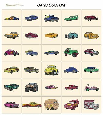 CARS CUSTOM. CD or USB machine embroidery design files  many formats pes jef etc