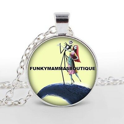 Jack & Sally Nightmare Before Christmas Glass Picture Pendant Necklace