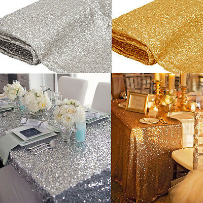 """New Sparkly Sequin Tablecloth 40"""" X59'' Square For Wedding/ Dessert Table Decor"""