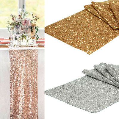 """12""""x108"""" Sequins Table Runner Sparkly Wedding Party Decoration Gold/Silver Event"""