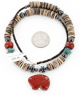 BEAR $290Tag Silver Navajo Spiny, Red Jasper Turquoise Native American Necklace