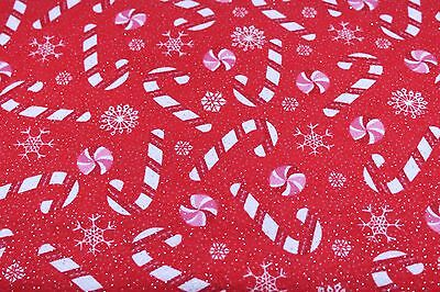 christmas candy cane glitter flannel fabric 100 cotton sewing quilting bty
