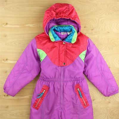 vtg 80's 90's NEW MOVES sport winter snow ski suit girls LARGE colorblock neon