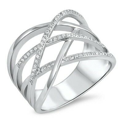 Crisscross Wide Cubic Zirconia Band .925 Sterling Silver Ring Sizes 5-10