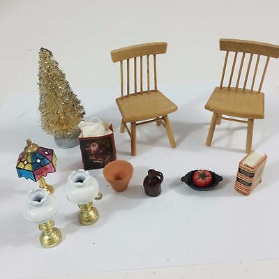 Dollhouse Miniature Vtg 12 pc Lot Accessories Chairs Xmas Tree Lamps Dictionary