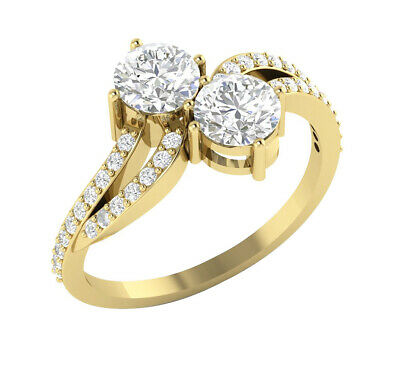 I1/G Genuine 1.50TCW Forever Us Two Stone Diamond 14Kt Gold Solitaire Ring Band