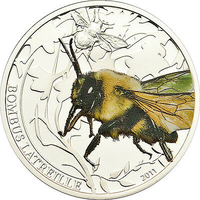 Bombus (Bummble Bee) - Amazing Insect -  $2  Palau 2011 Silver Proof Coin