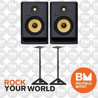 2 x KRK Rokit 5 G4 Pack w/ SKS39B Stands Powered Active Monitor Speaker 5""