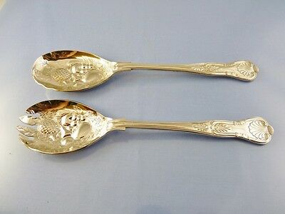 Kings Salad Or Fruit Servers Silver Plate By Sheffield Plate