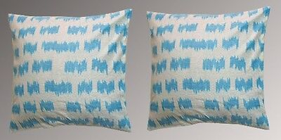 2 Uzbek Silk Ikat Fabric Pillow Cases Orient 6354-6756