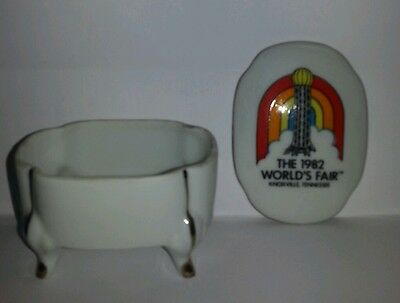 Knoxville Tn 1982 World's Fair White Footed Trinket Box