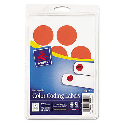 Avery Removable Color Coding Labels, 1-1/4, Round, Neon Red, 400/Pack (5497)