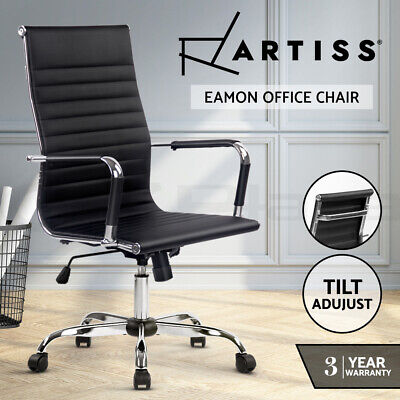 Eames Replica Executive Office Chair PU Leather Computer Recliner Armchair Black