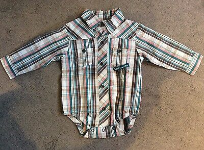 Baby Colloky Checked Shirt With Poppers Underneath Legs For Easy Fit - Newborn