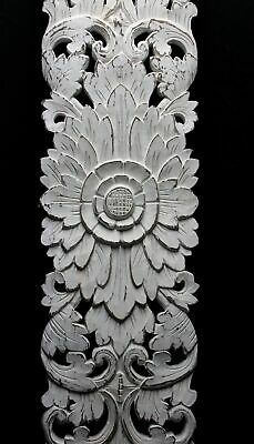 Balinese Lotus Wall art Panel Architectural Carved Wood Relief Whitewashed