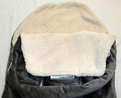 JJ Cole Bundle Me Gray Car Seat Cover Baby Bunting 0 12 Mo Infant Fleece