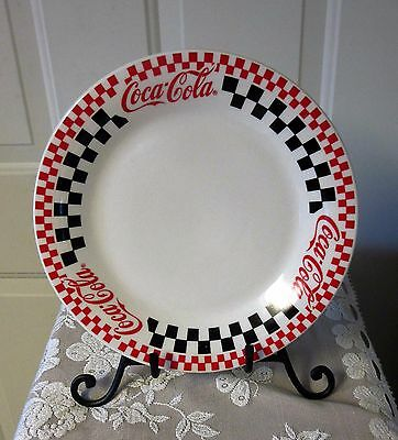 """Coca Cola dinner plates 10 3/4"""" by Gibson Housewares red black checks diner 1996"""
