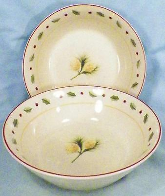 2 Merry Brite Holiday Home Soup Cereal Bowls Christmas Pine Cones Holly China