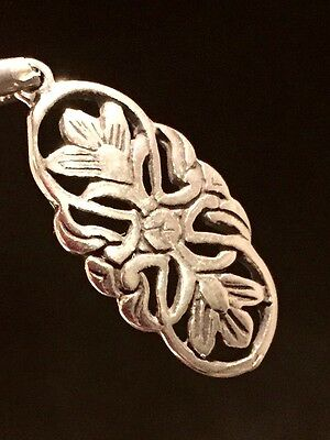 Sterling Silver Flower Charm Pendant Lotus Paisley Jewelry Stamped 925 Estate