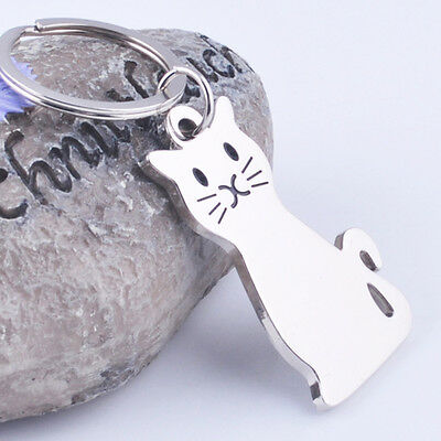 New Smooth Cat Kitty Metal Keychain Keyring Keyfob Car Key Ring Chain Gift Toy
