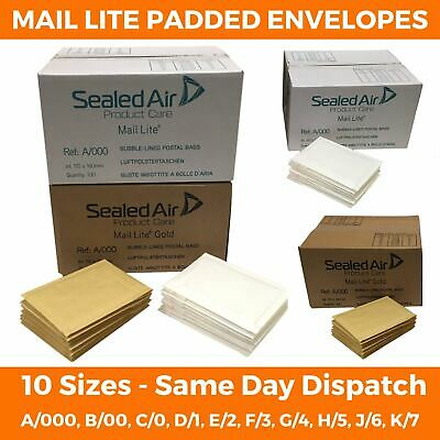 Mail Lite / Lites White Padded Bubble Envelopes / Bags All Sizes Post Mailer